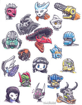 Bunch of Busts of Bionicle Buds