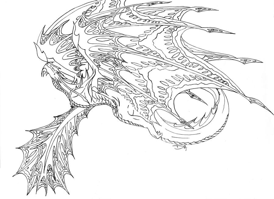 D Line Drawings Quest : Dragon line art by tiramora on deviantart