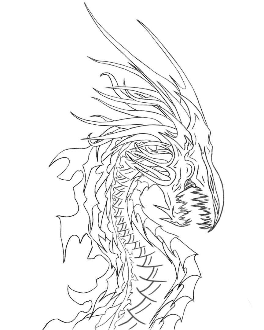 Line Art Dragon : Void dragon line art by tiramora on deviantart