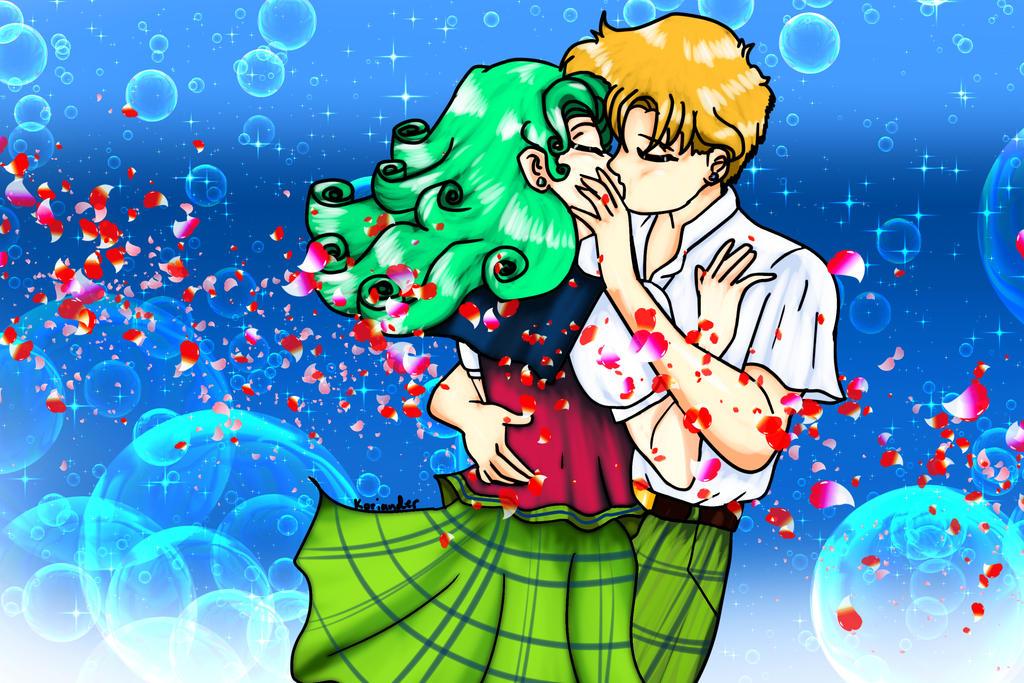 Haruka x Michiru: Kissing in blue by KorianderBullard