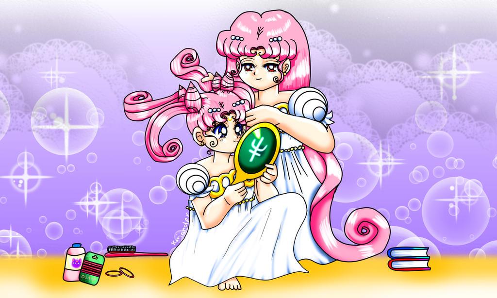 Moon Sisters Hair (Chibiusa and Kousagi) by KorianderBullard