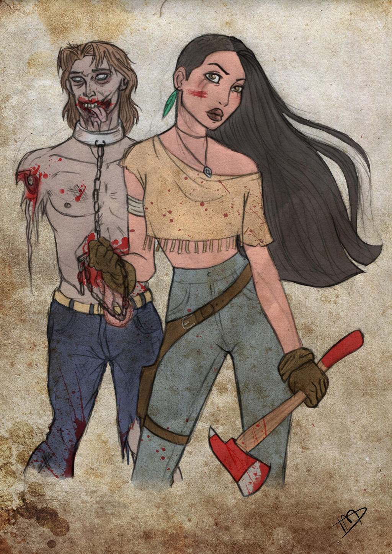 The Walking Disney : Pocahontas and John by Kasami-Sensei