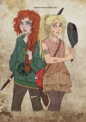 The Walking Disney/Pixar : Merida and Rapunzel 2 by Kasami-Sensei