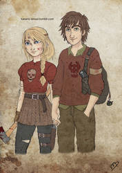 The Walking Dreamworks : Hiccup and Astrid by Kasami-Sensei