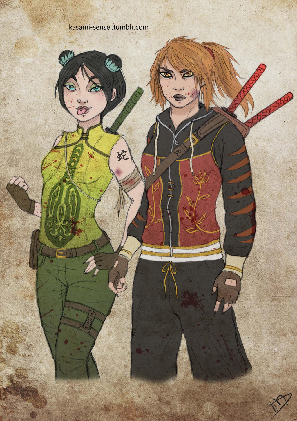 The Walking Dreamworks : Tigress and Viper by Kasami-Sensei