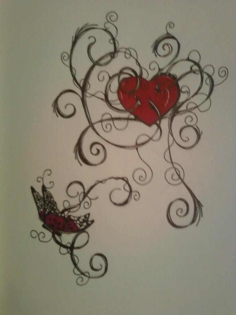 butterfly heart tattoo design by allanavosk on deviantart. Black Bedroom Furniture Sets. Home Design Ideas