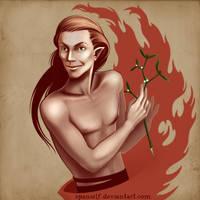 Loki with mistletoe by spanielf