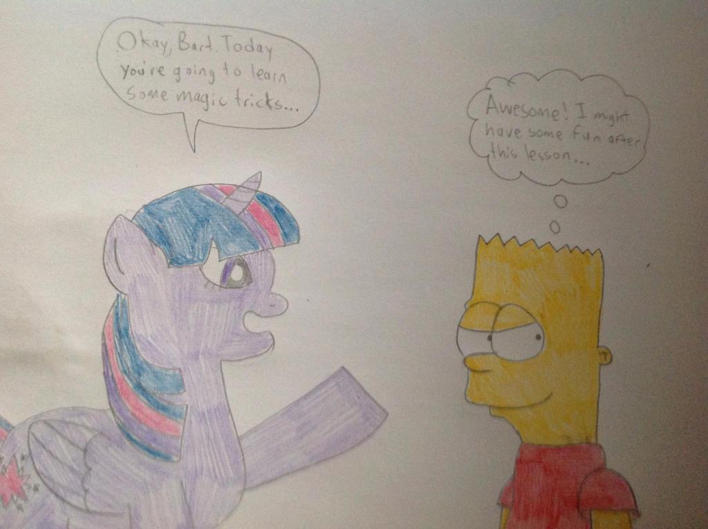 Twilight Sparkle teaches Bart by hmcvirgo92
