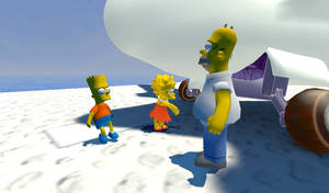 Homer, Bart, and Lisa in Isle Delfino