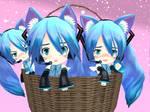MMD - Neko Miku Triplets in a Basket *Request*