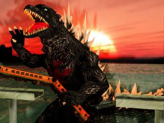 MMD Godzilla - Godzilla and a Train by MMDCharizard