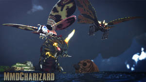 MMD Godzilla - PS3/PS4 Mothra AND Battra +DL+ by MMDCharizard