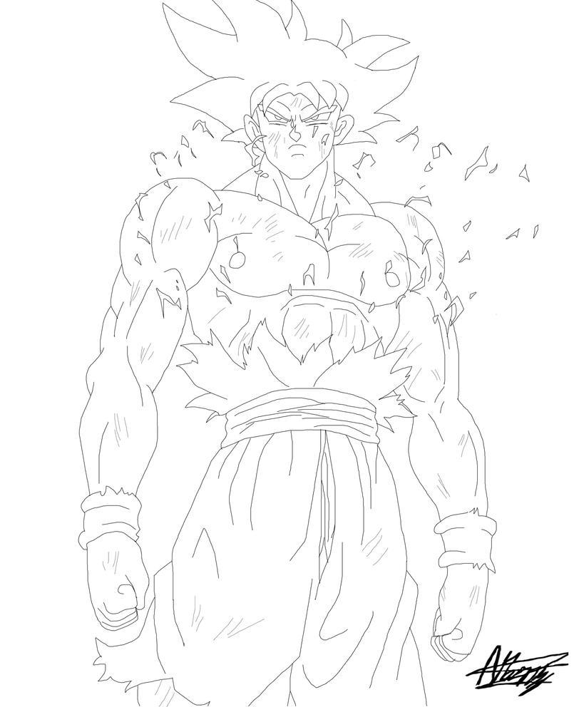 Goku ultra instinct line art by black x12 on deviantart - Goku ultra instinct sketch ...