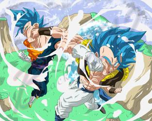 Super Gods clash(GOGETA vs VEGETTO) by Black-X12