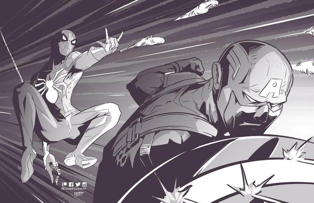 Spidey and Cap by DanielHooker