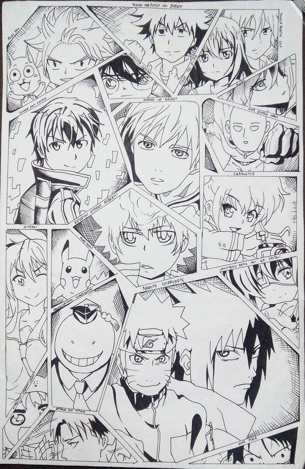 Anime manga collage drawing by josh18parker