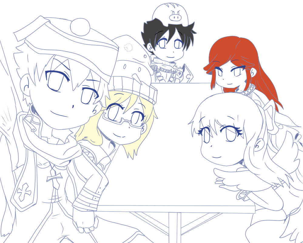 Group Pose Lineart by 12luigi