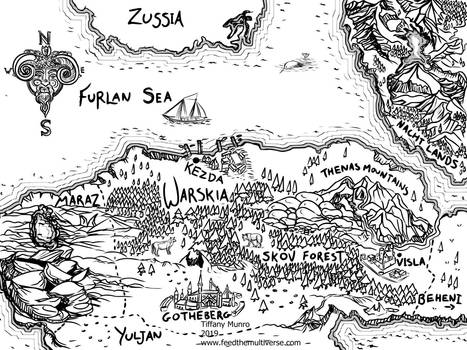 Stranger Rituals Black and White Ink Fantasy Map