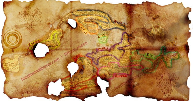 Future RPG map, badly damaged parchment