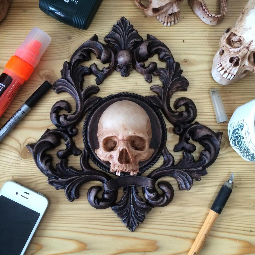 1:4 skull frame basrelief sculpture by yeyeyeaaghh on DeviantArt