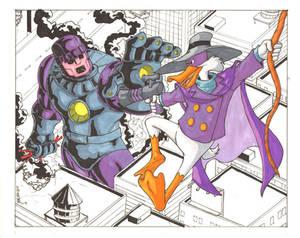 Darkwing Duck vs Sentinel commission