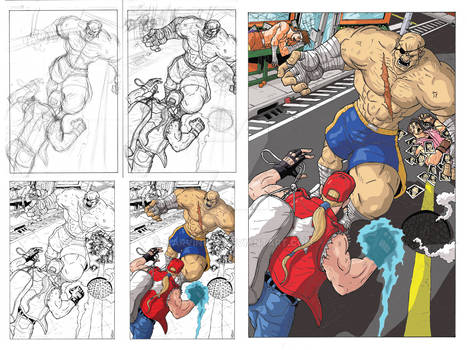 Sagat vs Terry pin up with process images