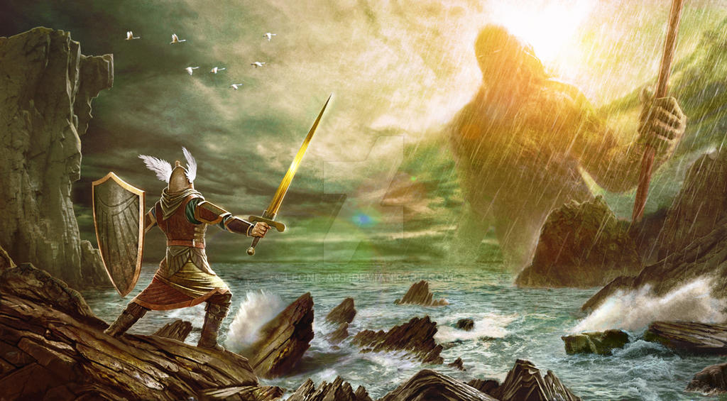Ulmo appears before Tuor by Leone-art