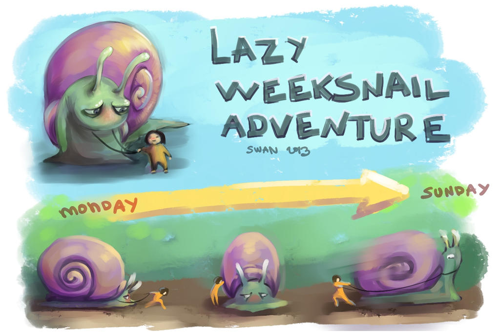 lazy week snail adventure by alenaswan