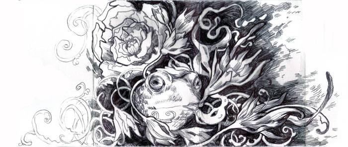 Free hand drawing in sketchbook