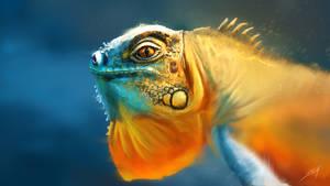 Tropical Iguana Painting