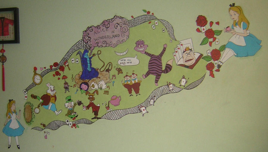 Alice in wonderland mural by coquettishgame on deviantart for Alice in wonderland wallpaper mural