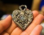 Silver Filigree Heart Pendant.