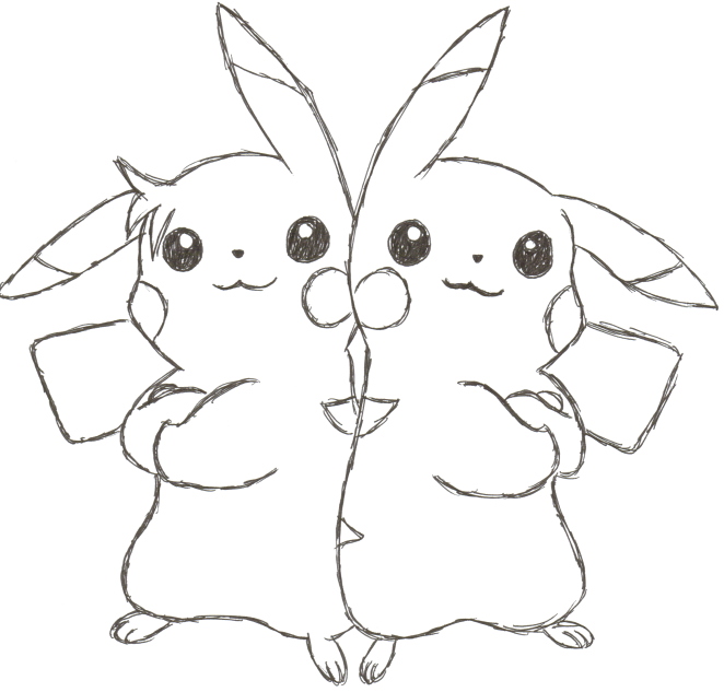 Pikachu And Sparky No Color By Pokemon1234567890 On Deviantart Pictures For To Color