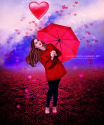 Raining Hearts by MysticSerenity