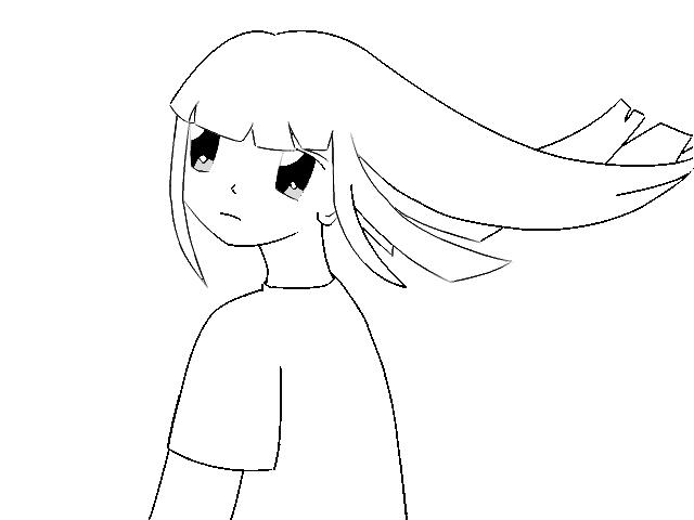 Line Art Gimp : Sad girl lineart using gimp by dark shadowsky