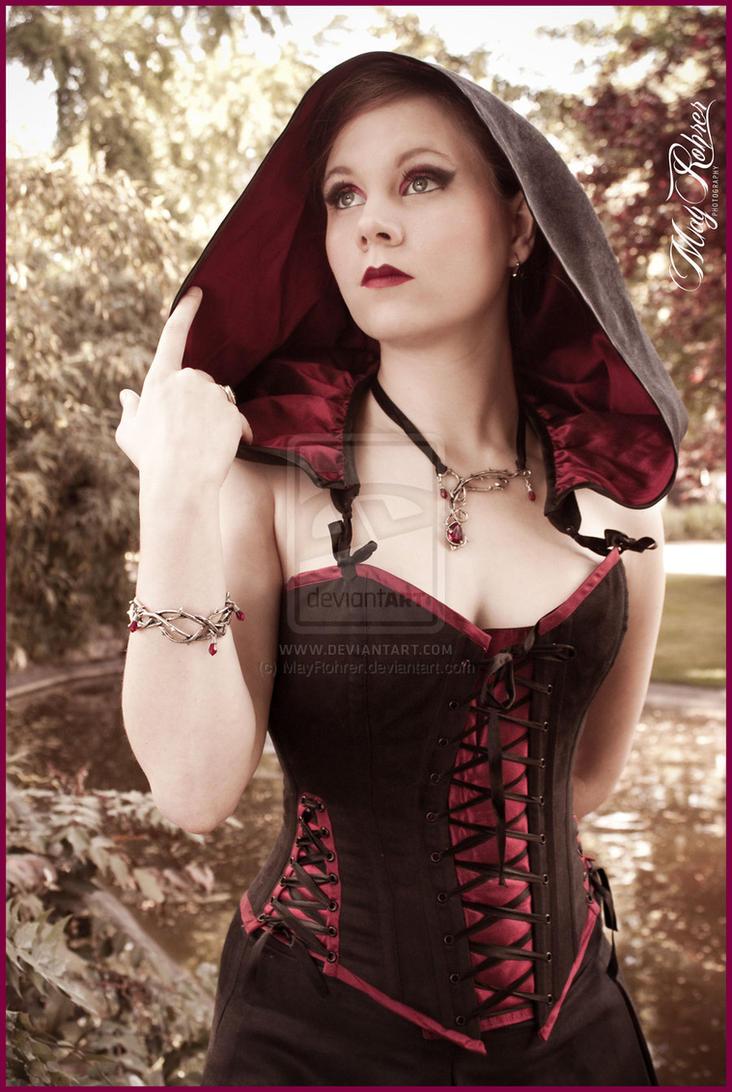 Suedine hooded corset' by Esaikha