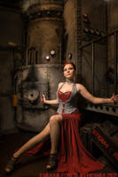 Red silk overbust corset dress 2012 collection by Esaikha