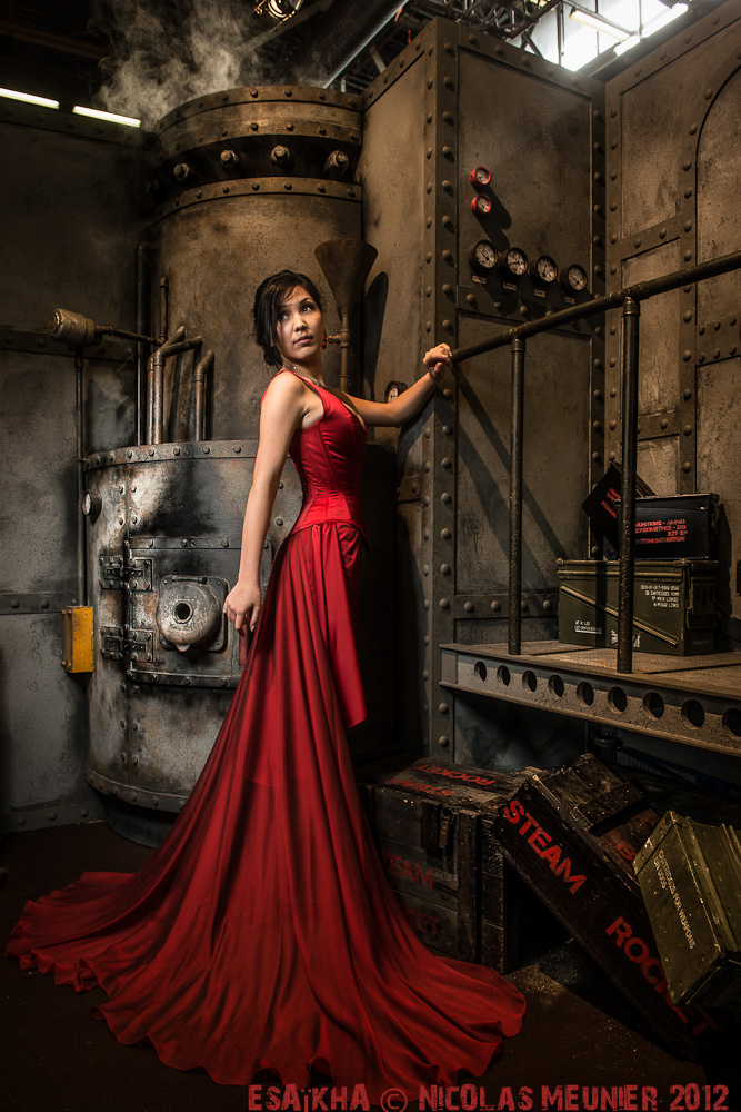 Red overbust corset dress 2012 collection by Esaikha