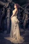Cream overbust brocade corset + silk muslin skirt