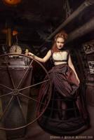 Cream overbust corset and brown crinoline skirt by Esaikha