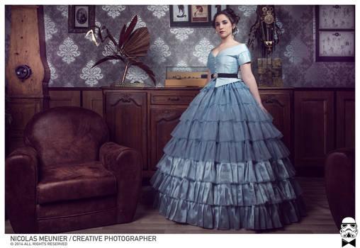 Blue crinoline gown