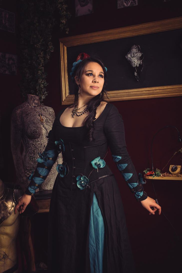Medieval fantasy dress with blue orchids by Esaikha