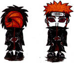 Tobi Pein Chibis coloured by AkatsukiFan505