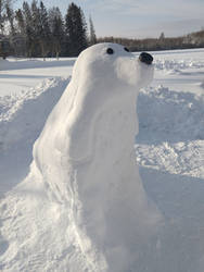 Snow-sculpture: Cocker Spaniel