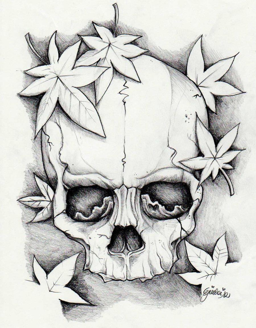 Skull and momiji leaves by giulaibloomlust on deviantart for Teschi da disegnare