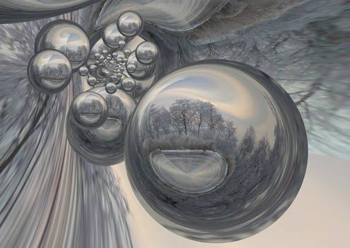 Winter frosty landschap Bubbles Reflection