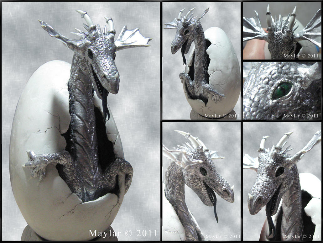 Silver Dragon Hatchling by Maylar