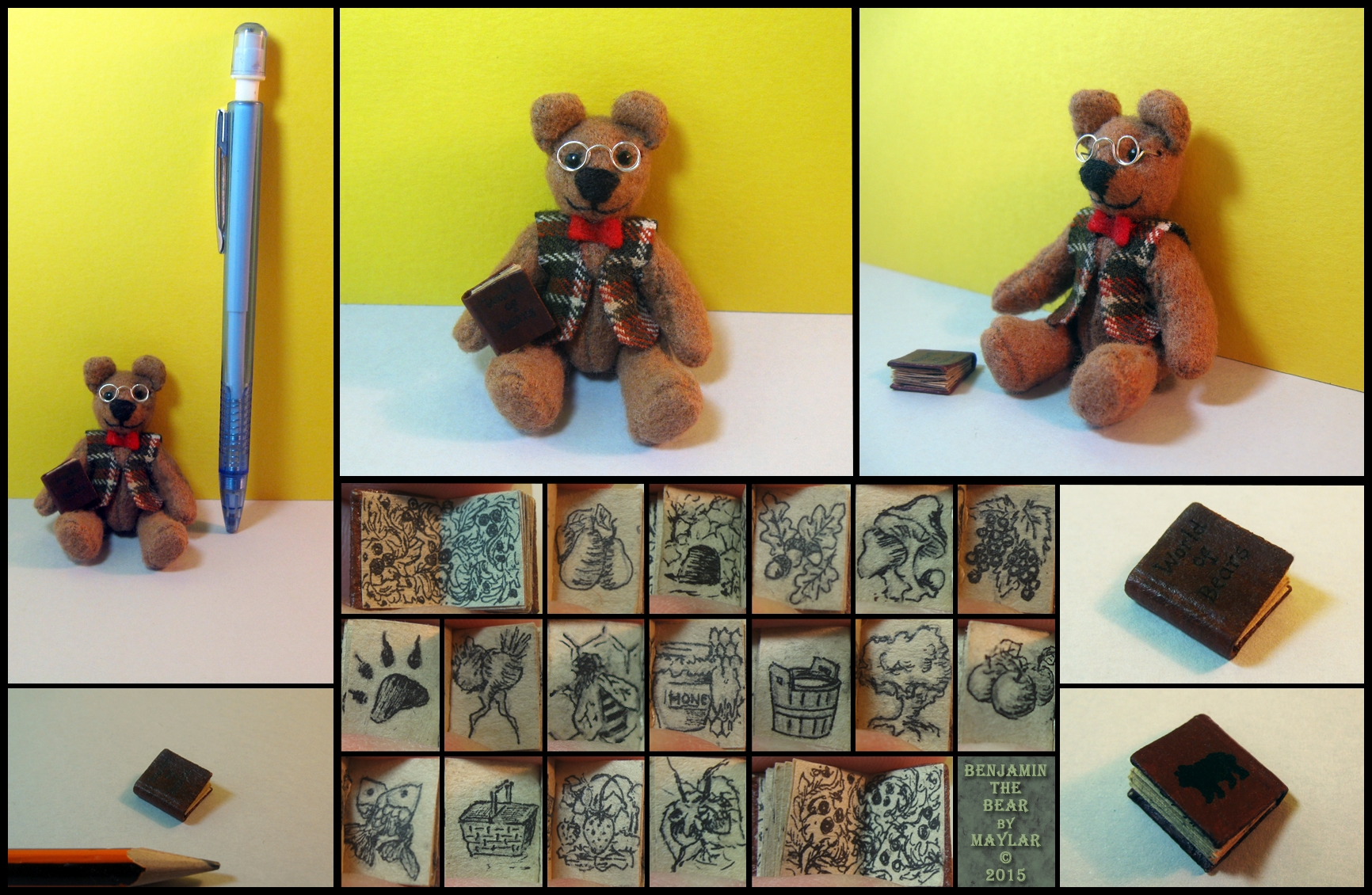 Benjamin the Librarian Bear OOAK by Maylar