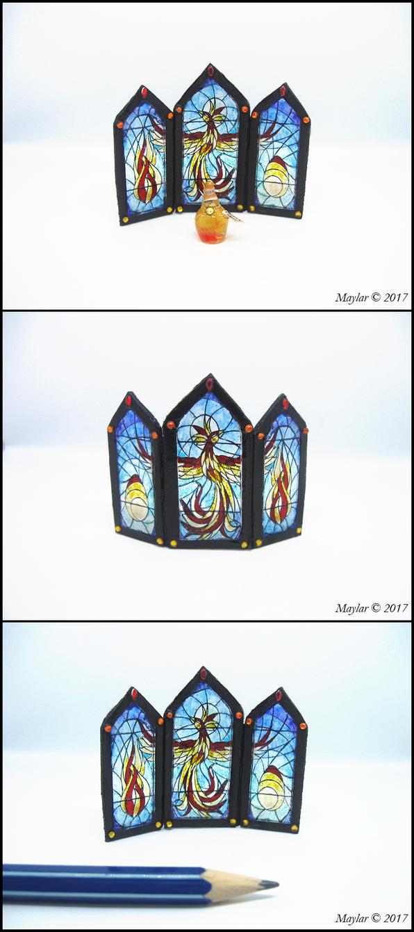 Phoenix Tears - OOOAK Miniature Stained Glass by Maylar