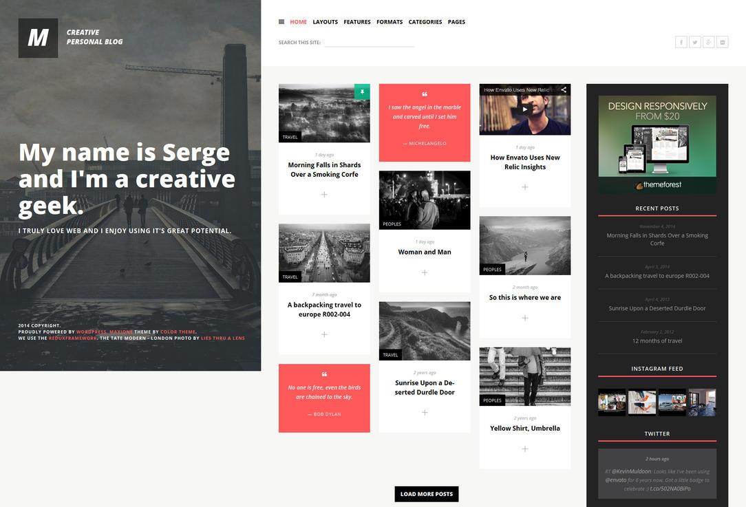 MaxiOne - Creative Personal Blog WordPress Theme by ZERGEV